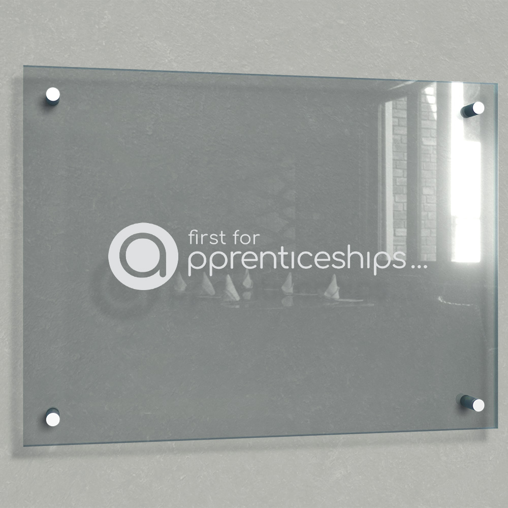 First For Apprenticeships Glass Signage